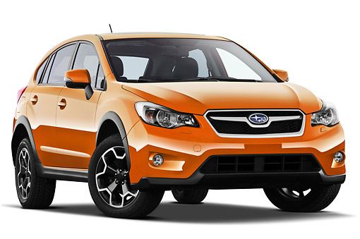 AUT 15 IZ0890 01 © Kimball Stock 2012 Subaru XV Executive SUV Orange 3/4 Front View On White Seamless