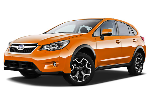 AUT 15 IZ0891 01 © Kimball Stock 2012 Subaru XV Executive SUV Orange 3/4 Front View On White Seamless