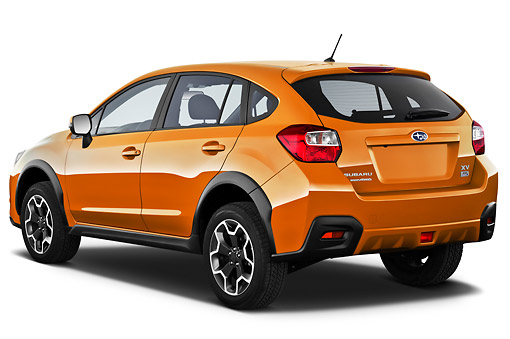 AUT 15 IZ0893 01 © Kimball Stock 2012 Subaru XV Executive SUV Orange 3/4 Rear View On White Seamless