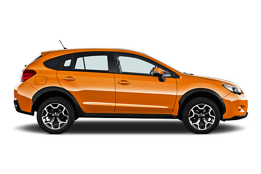 AUT 15 IZ0894 01 © Kimball Stock 2012 Subaru XV Executive SUV Orange Profile View On White Seamless