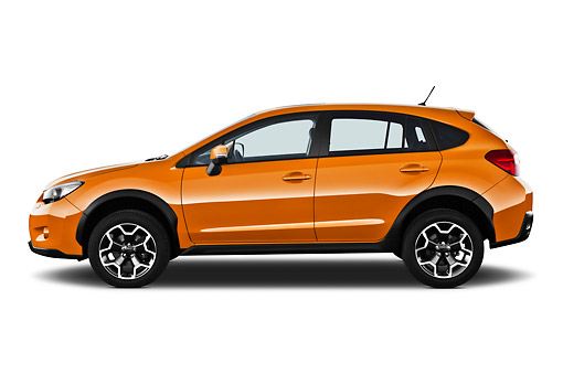 AUT 15 IZ0895 01 © Kimball Stock 2012 Subaru XV Executive SUV Orange Profile View On White Seamless