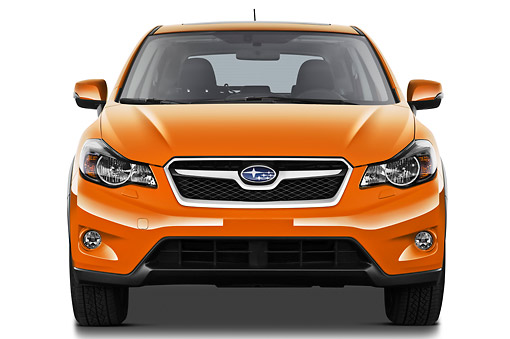 AUT 15 IZ0896 01 © Kimball Stock 2012 Subaru XV Executive SUV Orange Front View On White Seamless