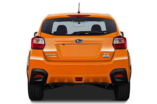 AUT 15 IZ0897 01 © Kimball Stock 2012 Subaru XV Executive SUV Orange Rear View On White Seamless