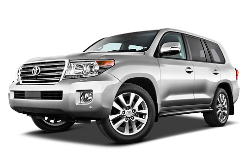 AUT 15 IZ0899 01 © Kimball Stock 2012 Toyota Land Cruiser V8 SUV Silver 3/4 Front View On White Seamless