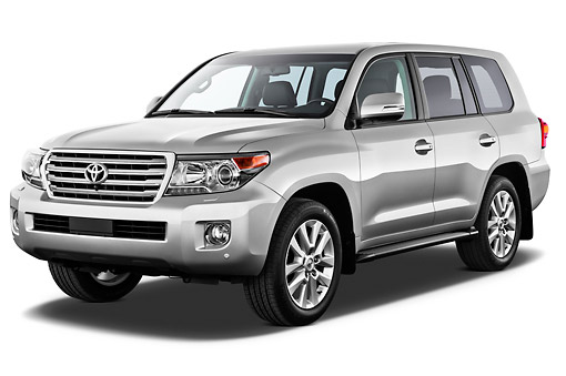 AUT 15 IZ0900 01 © Kimball Stock 2012 Toyota Land Cruiser V8 SUV Silver 3/4 Front View On White Seamless