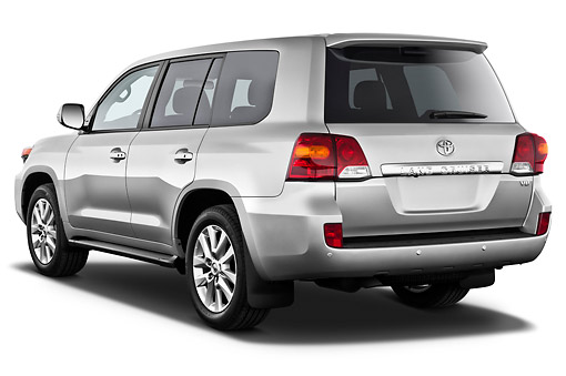 AUT 15 IZ0901 01 © Kimball Stock 2012 Toyota Land Cruiser V8 SUV Silver 3/4 Rear View On White Seamless