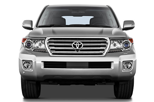 AUT 15 IZ0904 01 © Kimball Stock 2012 Toyota Land Cruiser V8 SUV Silver Front View On White Seamless