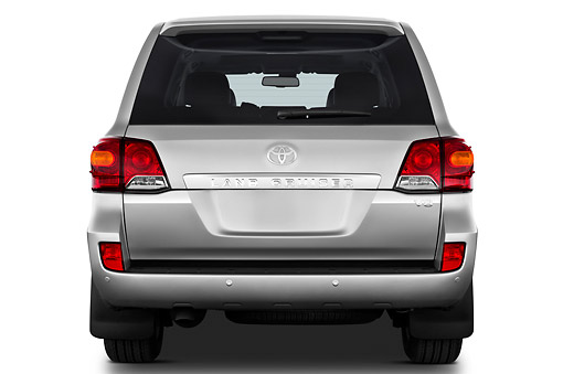 AUT 15 IZ0905 01 © Kimball Stock 2012 Toyota Land Cruiser V8 SUV Silver Rear View On White Seamless
