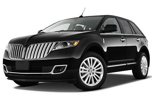 AUT 15 IZ0922 01 © Kimball Stock 2011 Lincoln MKX Black 3/4 Front View On White Seamless