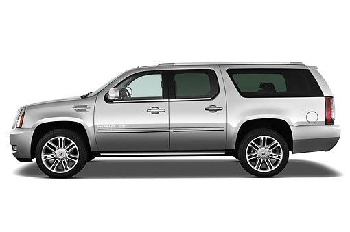 AUT 15 IZ0937 01 © Kimball Stock 2013 Cadillac Escalade ESV Premium 2WD Silver Profile View On White Seamless