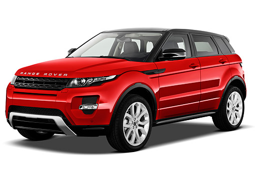 AUT 15 IZ0939 01 © Kimball Stock 2013 Land Rover Range Rover Evoque SUV Red 3/4 Front View On White Seamless
