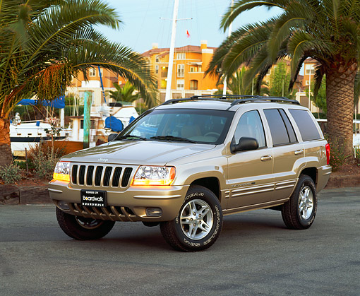 AUT 15 RK0380 04 © Kimball Stock 2000 Jeep Grande Cherokee Limited Champagne 3/4 Front View On Pavement By Harbor And Palm Trees
