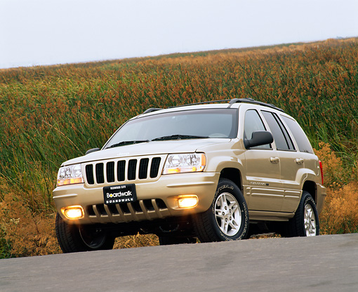 AUT 15 RK0387 05 © Kimball Stock 2000 Jeep Grande Cherokee Limited Champagne Low 3/4 Front View On Pavement Grass Hill