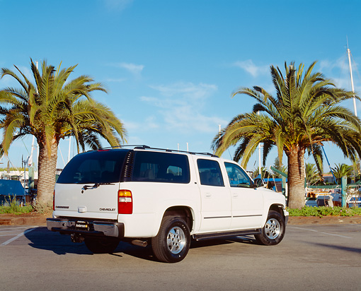 AUT 15 RK0637 02 © Kimball Stock 2003 Chevrolet Suburban White 3/4 Rear View On Pavement By Palm Trees