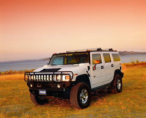 AUT 15 RK0737 05 © Kimball Stock 2003 H2 Hummer White 3/4 Front View On Dry Grass By Water Filtered