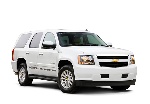 AUT 15 RK1222 01 © Kimball Stock 2008 Chevrolet Tahoe Hybrid SUV White 3/4 Front View Studio