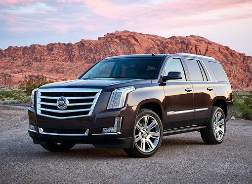 AUT 15 RK1353 01 © Kimball Stock 2015 Cadillac Escalade Black 3/4 Front View On Pavement