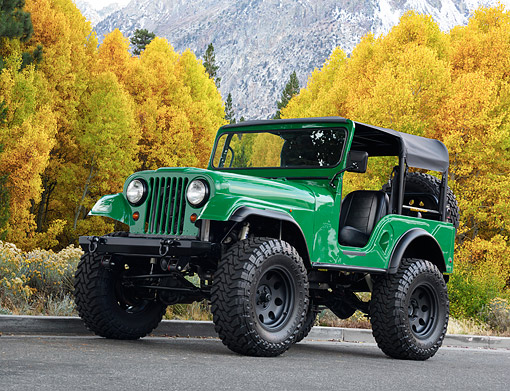 AUT 15 RK1365 01 © Kimball Stock 1969 Jeep CJ Custom Green 3/4 Front View On Pavement By Trees