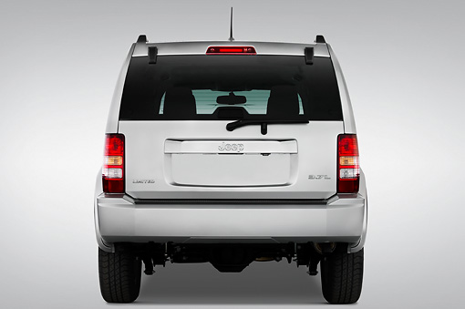 AUT 15 IZ0001 01 © Kimball Stock 2010 Jeep Liberty Limited Silver Rear View Studio