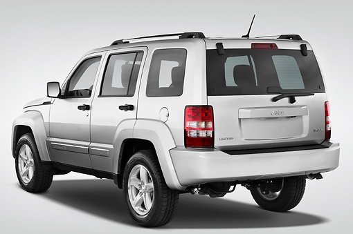 AUT 15 IZ0002 01 © Kimball Stock 2010 Jeep Liberty Limited Silver 3/4 Rear View Studio