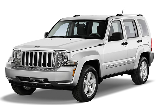 AUT 15 IZ0003 01 © Kimball Stock 2010 Jeep Liberty Limited Silver 3/4 Front View Studio