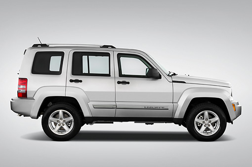 AUT 15 IZ0007 01 © Kimball Stock 2010 Jeep Liberty Limited Silver Profile View Studio