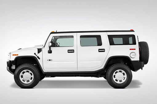 AUT 15 IZ0022 01 © Kimball Stock 2010 Hummer H2 White Profile View Studio