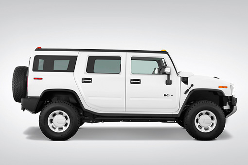 AUT 15 IZ0023 01 © Kimball Stock 2010 Hummer H2 White Profile View Studio