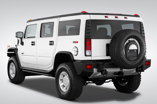 AUT 15 IZ0025 01 © Kimball Stock 2010 Hummer H2 White 3/4 Rear View Studio