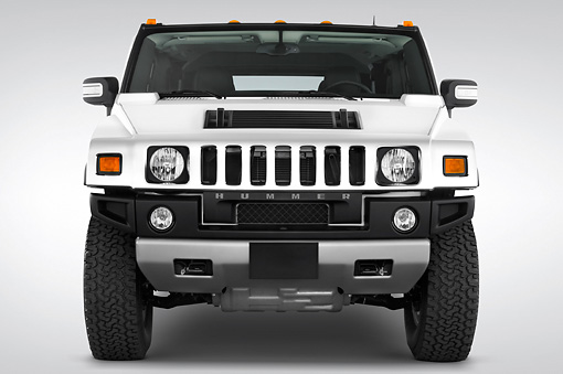 AUT 15 IZ0028 01 © Kimball Stock 2010 Hummer H2 White Head On View Studio