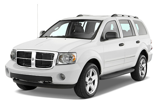 AUT 15 IZ0050 01 © Kimball Stock 2008 Dodge Durango White 3/4 Front View Studio