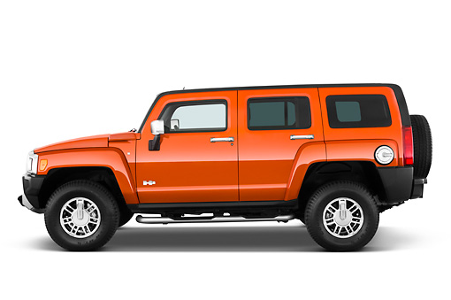 AUT 15 IZ0056 01 © Kimball Stock 2010 Hummer H3 Alpha Orange Profile View Studio