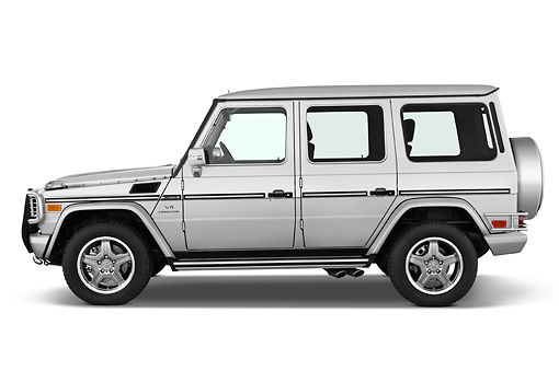 AUT 15 IZ0060 01 © Kimball Stock 2010 Mercedes-Benz G55 AMG Silver Profile View Studio