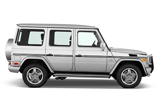 AUT 15 IZ0061 01 © Kimball Stock 2010 Mercedes-Benz G55 AMG Silver Profile View Studio
