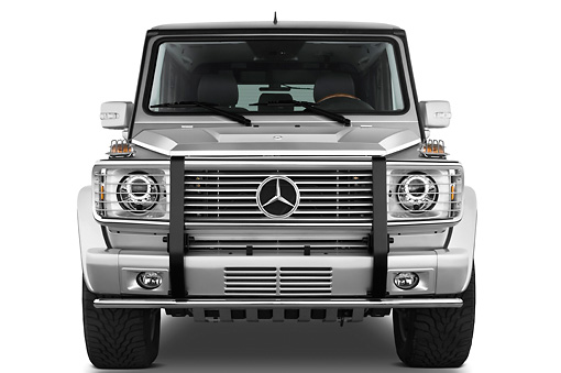 AUT 15 IZ0062 01 © Kimball Stock 2010 Mercedes-Benz G55 AMG Silver Head On View Studio