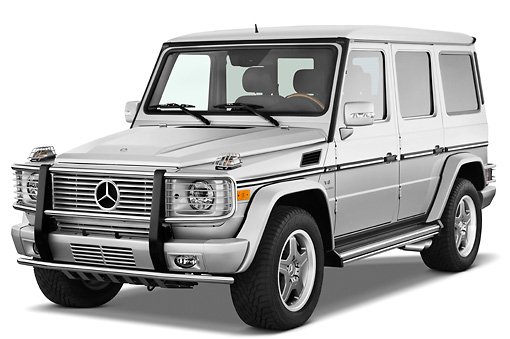 AUT 15 IZ0063 01 © Kimball Stock 2010 Mercedes-Benz G55 AMG Silver 3/4 Front View Studio