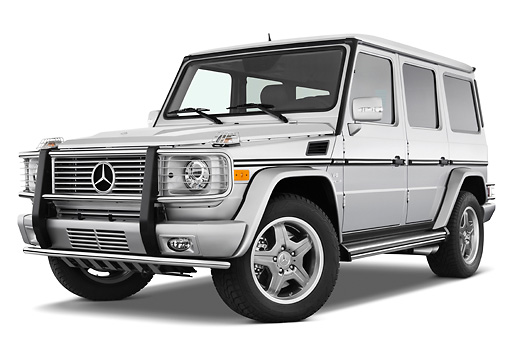 AUT 15 IZ0064 01 © Kimball Stock 2010 Mercedes-Benz G55 AMG Silver 3/4 Front View Studio