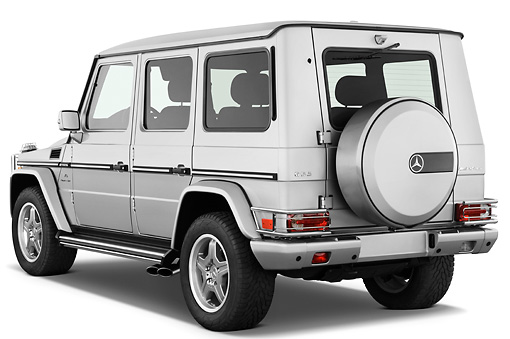 AUT 15 IZ0065 01 © Kimball Stock 2010 Mercedes-Benz G55 AMG Silver 3/4 Rear View Studio