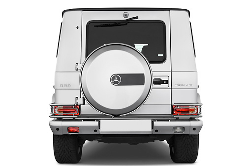 AUT 15 IZ0066 01 © Kimball Stock 2010 Mercedes-Benz G55 AMG Silver Rear View Studio