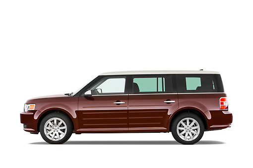 AUT 15 IZ0088 01 © Kimball Stock 2010 Ford Flex Limited Cinnamon/White Profile View Studio