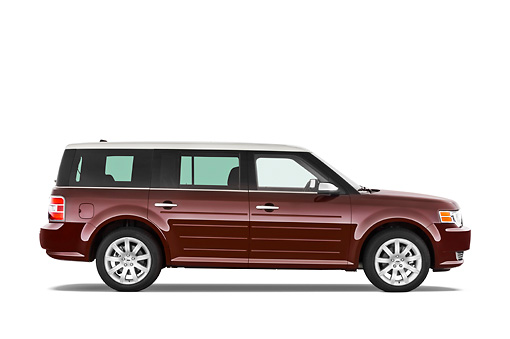AUT 15 IZ0089 01 © Kimball Stock 2010 Ford Flex Limited Cinnamon/White Profile View Studio