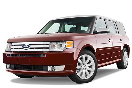 AUT 15 IZ0091 01 © Kimball Stock 2010 Ford Flex Limited Cinnamon/White 3/4 Front View Studio