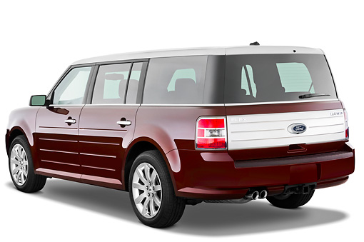 AUT 15 IZ0093 01 © Kimball Stock 2010 Ford Flex Limited Cinnamon/White 3/4 Rear View Studio