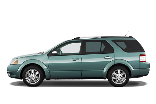 AUT 15 IZ0610 01 © Kimball Stock 2009 Ford Taurus X Limited Green Profile View Studio