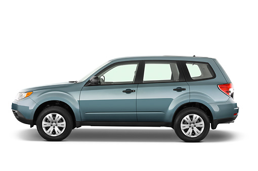 AUT 15 IZ0625 01 © Kimball Stock 2010 Subaru Forester PZEV Blue Profile View Studio