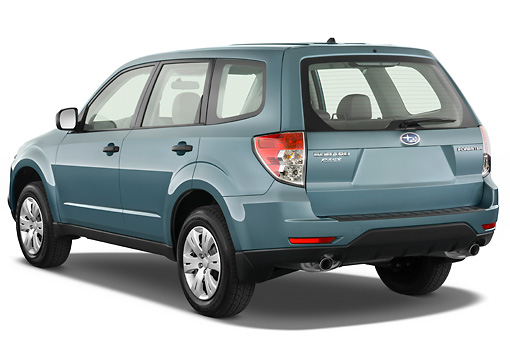 AUT 15 IZ0629 01 © Kimball Stock 2010 Subaru Forester PZEV Blue 3/4 Rear View Studio