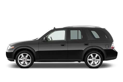 AUT 15 IZ0646 01 © Kimball Stock 2009 Saab 9-7X Aero Black Profile View Studio