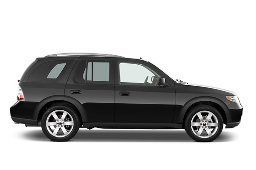 AUT 15 IZ0647 01 © Kimball Stock 2009 Saab 9-7X Aero Black Profile View Studio