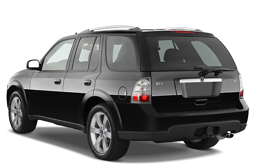 AUT 15 IZ0650 01 © Kimball Stock 2009 Saab 9-7X Aero Black 3/4 Rear View Studio