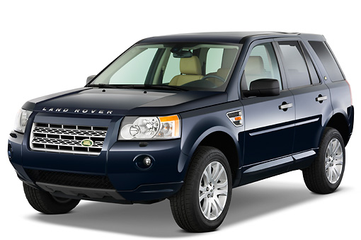 AUT 15 IZ0655 01 © Kimball Stock 2010 Land Rover LR2 HSE Blue 3/4 Front View Studio